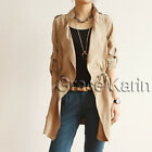 Korean Fashion Women Casual Slim Fit Long Trench Coat Jacket Windbreaker Parka