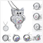 Newly Living Memory Floating Glass Flower Locket Crystal Charms Necklace Pendant