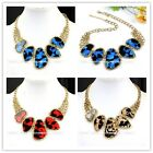 1pc Golden Chain Jewelry Irregular Resin Leopard Print Bib Pendant Necklace New