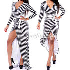Sexy V-Neck Long Sleeve Striped Classic Resort Long-sleeve Party Wrap Maxi Dress