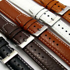 Padded Buffalo Grain Leather Watch Band 22mm 20mm 18mm Contrast Stitching C026