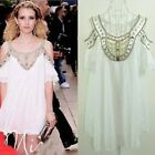 Fshion New Jewel&Bead trimmed off the shoulder White Chiffon Weeding dress - CB