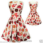 RKL1 Lady Vintage Hepburn Cream Cup Cake Hepburn Tea Dress 50s Swing Rockabilly