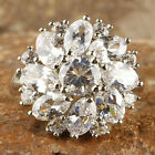 Sz 6 7 8 9 10 11 12 Round & Oval Cut White Topaz Gemstone Silver Ring Sublimate