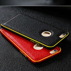 For iPhone 5 5S 6 Plus Luxury GENUINE LEATHER Back Case Aluminum Bumper Cover