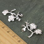 4pcs Sterling Silver Plated Brass Filigree Branches Leaf Flower Charm bp03 Pick