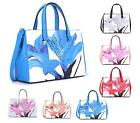 LADIES HANDBAG FASHION TOTE FAUX LEATHER TULIP FLOWER TWIN HANDLE SHOULDER BAG
