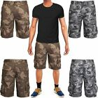 MENS ARMY CARGO COMBAT SHORTS CAMO WORK CASUAL PANTS GREY GREEN CAMOUFLAGE 28-36