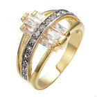 Jewelry Champagne Topaz & CZ Wedding Ring Size 8/9 Womens 10K Yellow Gold Filled