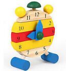 FD1761 Cute Wooden Clock Hand Made Toys Kids Learn Time Clock Educational Toy