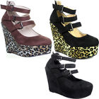 10347 Womens High Wedge Platform Shoes Round Toe Side Buckle Ladies Evening Fash