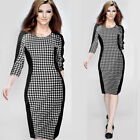 2015 New Womens Elegant Plaid Business Bodycon Cocktail Pencil Party Dress B44