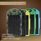 5000mAh Solar Waterproof Power Bank External Battery Dual USB Charger for Phones