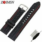22mm New Men's High quality Black Waterproof Silicone Rubber Watch band Strap