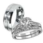 Copule 3 Pcs Mens Tungsten & Womens Stainless Steel Engagement Wedding Ring Set