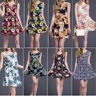 Summer Women Sexy Round Neck Slim Sleeveless Mini Dress Floral Party Short Dress