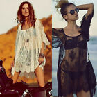 Women Sexy Summer Beach Dress Vintage Hippie Boho Floral Lace Crochet Mini Dress