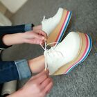 Stylish womens shoes wedge platform creeper heel Lace up sneakers Rainbow size