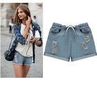 Women Distressed Ripped Worn Style Strappy Elastic Waist Summer Jean Shorts Plus