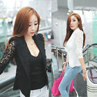 Women Long Sleeve Lace Crochet Lapel Blazer Short Jacket Suit Blouse Coat Tops