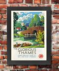 TU23 Vintage River Thames London GWR Travel Railway Framed Poster Print A3/A4
