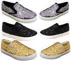 WOMENS SEQUINS SKATER SLIP ON FLAT TRAINERS SNEAKERS PLIMSOLLS PUMPS SHOES