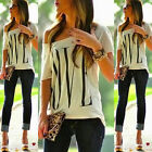 Hot Womens Sexy Short Sleeve Loose White T Shirt Summer Casual Lover Tops Blouse