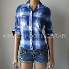 NWT ABERCROMBIE & FITCH ANF WOMENS Navy/Blue Preppy  Plaid Casual Shirt $68