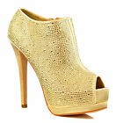 NEW Womens Gold Diamante Crystal Sparkly Stiletto Peep Toe Shoe Booties Size
