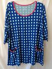 New Lands' End  3/4-sleeve Lightweight Cotton Rayon Scoopneck Tunic Blue & Mint