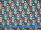 BLAST OFF - SMALL RED & NAVY ROCKETS RETRO SPACE DESIGN  cotton patchwork fabric