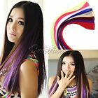 New Women Multi Color Full Long Straight Synthetic Head Clip in Hair Extensions
