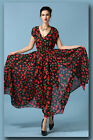 Womens V-Neck Cherry Printed Split Cut Party Evening Cocktail Swing Maxi Dress