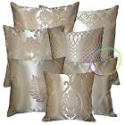 HC Tan Pale Tan Gold 7 Pattern Jacquard Floral Wave Cushion Cover/Pillow Case
