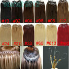"""New 100s 20"""" Micro Ring Easy Loop Tip Remy Real Human Hair Extensions Straight"""