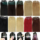 """New 100s 22"""" Micro Ring Beads Easy Loop Tip Remy Human Hair Extensions Straight"""