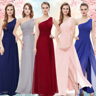 Women's Elegant One Shoulder Long Bridesmaid Evening Prom Party Dress 09905