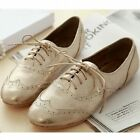 Gold SIlver leather women flats oxford wing tip lace up shoes boyfriend boots