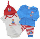 Paddington 4 Piece Baby Boys Bodysuit Trouser Top Hat Set 100% Cotton