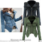 WF2 Celebrity Style Motorcycle Biker Studded Fitted Power Shoulder Denim Jacket