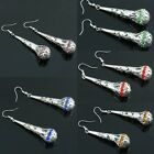 Women's Ladies Czech Crystal Paisley Floral Flower Drop Dangle Hook Ear Earrings