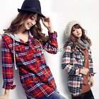Girls Womens Long Sleeve Button Hoodie T-Shirt Plaids & Checks Hooded Top Blouse