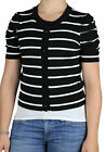 AUGUST SILK  Petite's Striped Ruched Sleeve Cropped Cardigan Sweater 0117056 $68