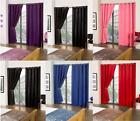 """Cali ECO Thermal Blackout Eyelet Curtains 45""""x72"""" Amethyst Beige Black Red Blue"""