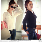 WF40 Celebrity Style Sexy Boyfriend Chiffon Pocket Long Sleeve Blouse Shirt Top