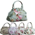 Fashion Women's Canvas Flower Printed Zipper Handbag Shopping Bags Tote - CB