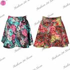 Womens Ladies Floral Print Scubba Stretchy High Waisted Swing Skater Mini Skirt