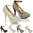 WOMENS WEDDING PLATFORM HIGH HEEL LADIES BRIDAL EVENING PROM COURT SHOES SIZE