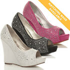 WOMENS LADIES HIGH HEEL WEDGE PLATFORM DIAMANTE WEDDING BRIDAL PROM SHOES SIZE