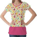 Multicolour Splash Pattern Womens Ladies Short Sleeve Top Shirt Blouse